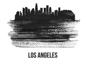 NAXART Studio - Los Angeles Skyline Brush Stroke Black II