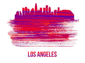 NAXART Studio - Los Angeles Skyline Brush Stroke Red