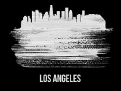 NAXART Studio - Los Angeles Skyline Brush Stroke White