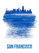 NAXART Studio - San Francisco Brush Stroke Skyline Blue