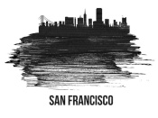 NAXART Studio - San Francisco Skyline Brush Stroke Black II
