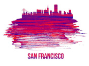 NAXART Studio - San Francisco Skyline Brush Stroke Red