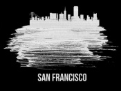 NAXART Studio - San Francisco Skyline Brush Stroke White