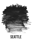 NAXART Studio - Seattle Skyline Brush Stroke Black