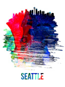 NAXART Studio - Seattle Skyline Brush Stroke Watercolor