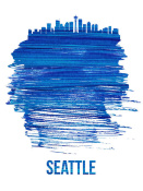 NAXART Studio - Seattle Brush Stroke Skyline Blue