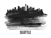 NAXART Studio - Seattle Skyline Brush Stroke Black II