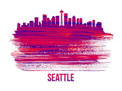 NAXART Studio - Seattle Skyline Brush Stroke Red