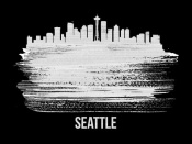 NAXART Studio - Seattle Skyline Brush Stroke White
