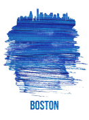 NAXART Studio - Boston Brush Stroke Skyline Blue