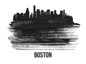 NAXART Studio - Boston Skyline Brush Stroke Black II