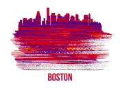 NAXART Studio - Boston Skyline Brush Stroke Red