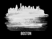 NAXART Studio - Boston Skyline Brush Stroke White