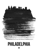 NAXART Studio - Philadelphia Skyline Brush Stroke Black