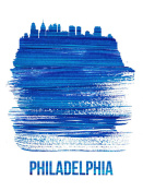 NAXART Studio - Philadelphia Brush Stroke Skyline Blue