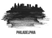 NAXART Studio - Philadelphia Skyline Brush Stroke Black II