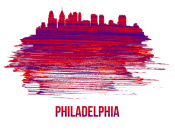 NAXART Studio - Philadelphia Skyline Brush Stroke Red