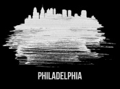 NAXART Studio - Philadelphia Skyline Brush Stroke White