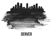 NAXART Studio - Denver Skyline Brush Stroke Black II