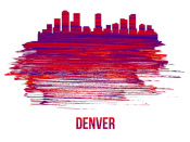NAXART Studio - Denver Skyline Brush Stroke Red