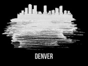 NAXART Studio - Denver Skyline Brush Stroke White