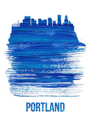 NAXART Studio - Portland Brush Stroke Skyline Blue