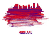 NAXART Studio - Portland Skyline Brush Stroke Red