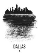 NAXART Studio - Dallas Skyline Brush Stroke Black