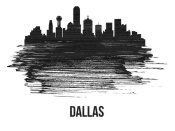 NAXART Studio - Dallas Skyline Brush Stroke Black II