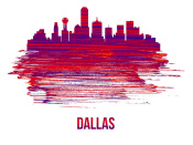 NAXART Studio - Dallas Skyline Brush Stroke Red