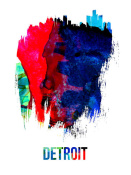 NAXART Studio - Detroit Skyline Brush Stroke Watercolor