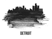 NAXART Studio - Detroit Skyline Brush Stroke Black II