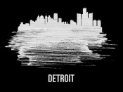 NAXART Studio - Detroit Skyline Brush Stroke White
