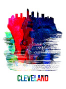 NAXART Studio - Cleveland Skyline Brush Stroke Watercolor