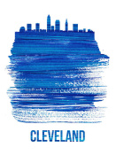 NAXART Studio - Cleveland Skyline Brush Stroke Blue