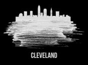 NAXART Studio - Cleveland Skyline Brush Stroke White