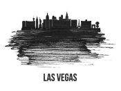 NAXART Studio - Las Vegas Skyline Brush Stroke Black II