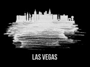 NAXART Studio - Las Vegas Skyline Brush Stroke White