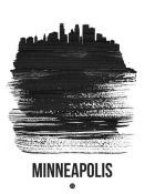 NAXART Studio - Minneapolis Skyline Brush Stroke Black