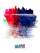 NAXART Studio - Miami Skyline Brush Stroke Watercolor