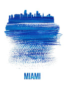 NAXART Studio - Miami Skyline Brush Stroke Blue