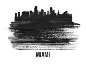 NAXART Studio - Miami Skyline Brush Stroke Black II