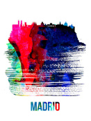 NAXART Studio - Madrid Skyline Brush Stroke Watercolor