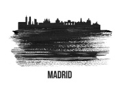 NAXART Studio - Madrid Skyline Brush Stroke Black II