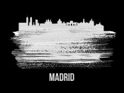 NAXART Studio - Madrid Skyline Brush Stroke White