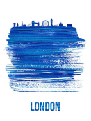 NAXART Studio - London Skyline Brush Stroke Blue