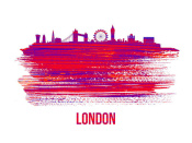 NAXART Studio - London Skyline Brush Stroke Red