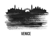 NAXART Studio - Venice Skyline Brush Stroke Black II
