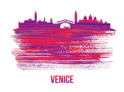 NAXART Studio - Venice Skyline Brush Stroke Red