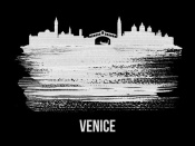 NAXART Studio - Venice Skyline Brush Stroke White